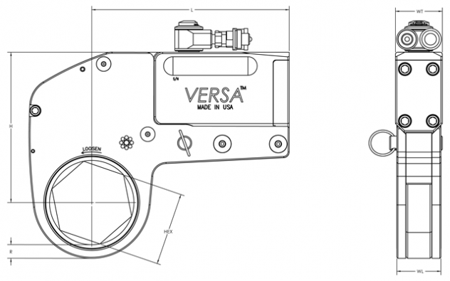Hytorc VERSA dimensional diagram
